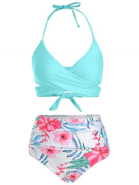 Floral Print Halter Wrap Bikini Swimsuit - DAY SKY BLUE M