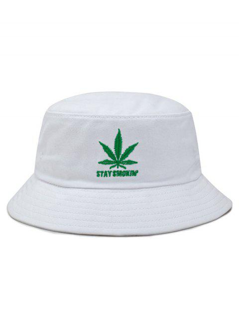 Maple Leaf Embroidery Bucket Hat - WHITE