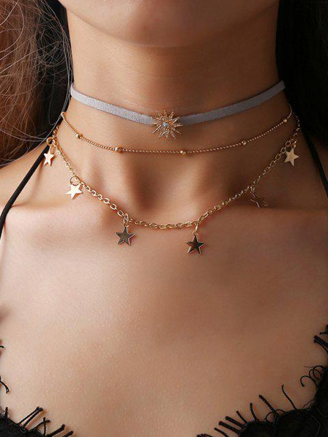 Multilayered Star Pendant Choker Necklace - GOLD
