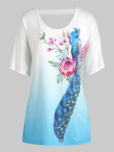 Plus Size Flower Peacock Print Ombre Cut Out Tee - WHITE 4X