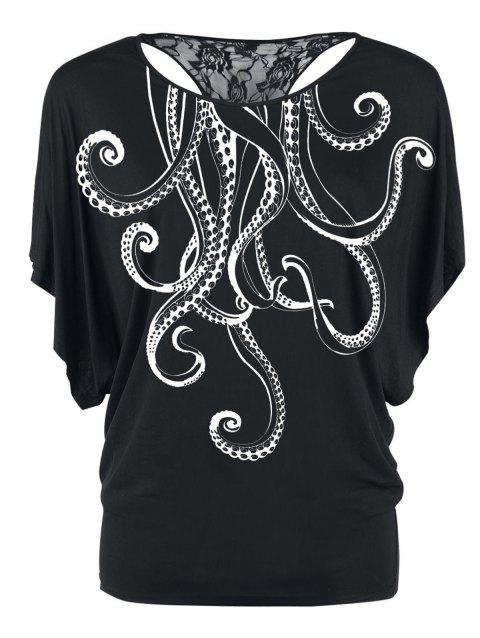 Plus Size Batwing Sleeve Floral Lace Octopus Print T-shirt - BLACK 1X