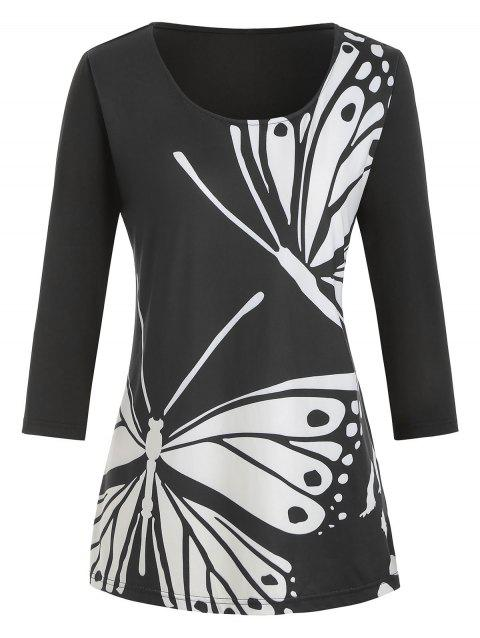 Butterfly Print Plus Size Graphic Tee - BLACK 5X