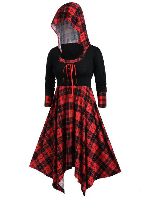 Plus Size Hooded Plaid Lace Up Handkerchief Dress - multicolor 5X