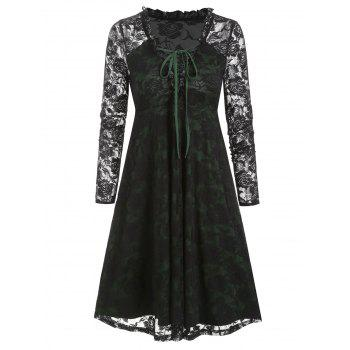 Plunge Neck Lace-up Ruffle Flower Lace Dress