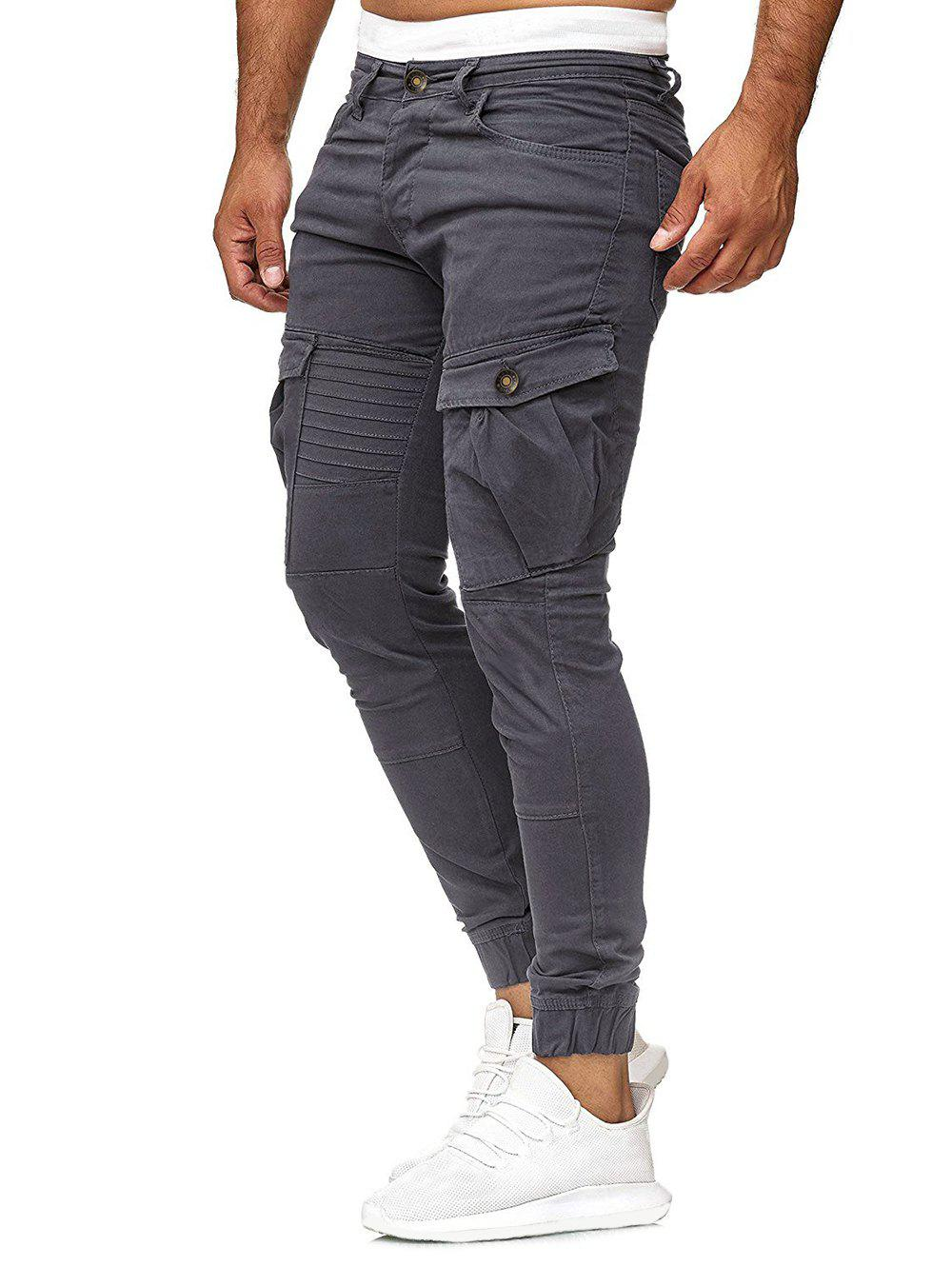 Solid Color Pleated Flap Pocket Casual Jogger Pants - LIGHT GRAY M