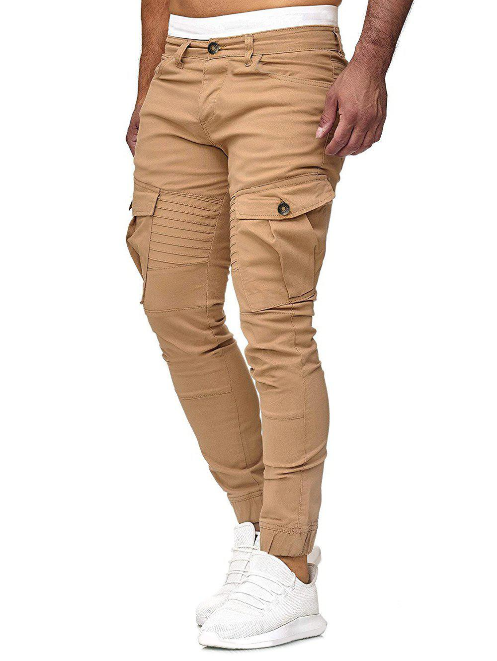 Solid Color Pleated Flap Pocket Casual Jogger Pants - KHAKI XL