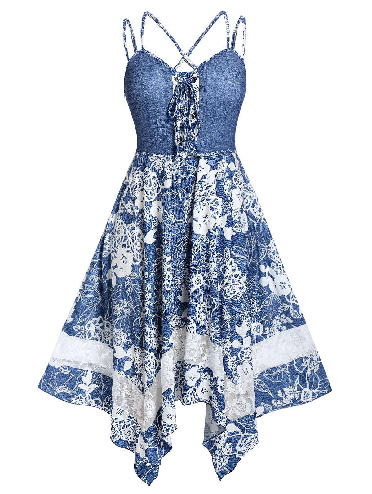 Plus Size Handkerchief Lace Up Floral Dress - BLUE GRAY 5X