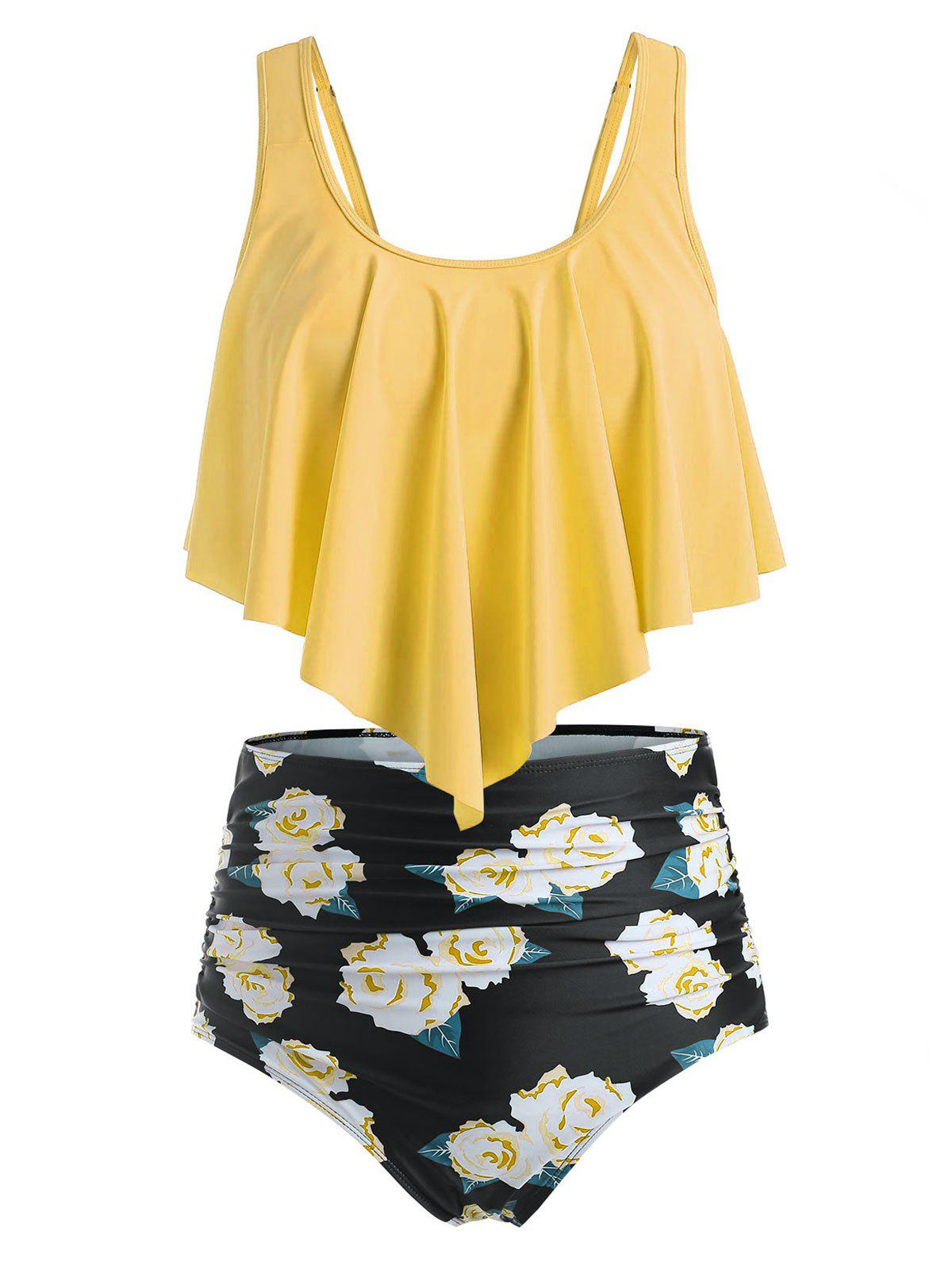 Floral Leaf Ruched Flounce Plus Size Tankini Swimsuit - GOLDENROD 5X