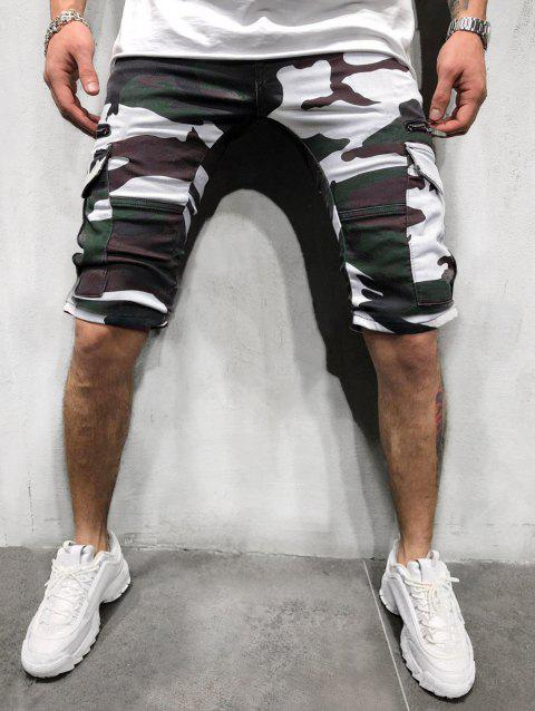 Camouflage Print Side Flap Pocket Casual Shorts - ACU CAMOUFLAGE XL