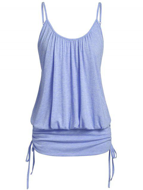Plus Size Marled Spaghetti Strap Cinched Tank Top - LIGHT SLATE BLUE 4X