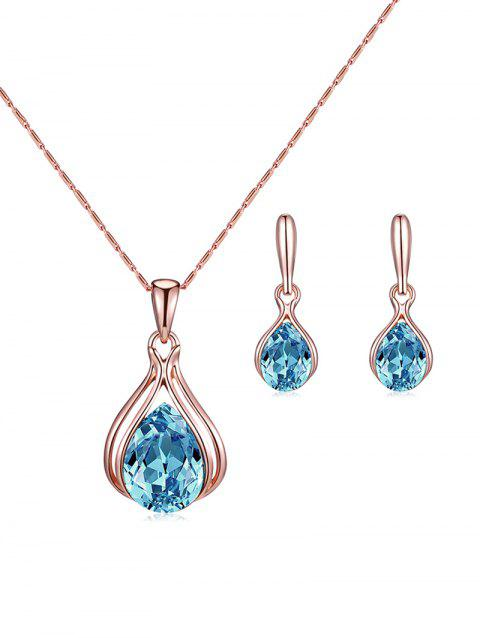 Water Drop Faux Crystal Necklace Earrings Set - ROSE GOLD