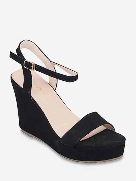 Wedge Heel Buckle Strap Design Sandals - BLACK EU 37