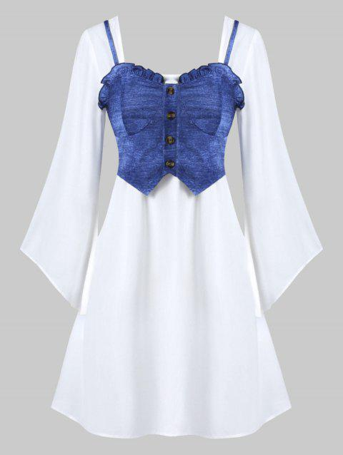 Square Neck Flare Sleeve Dress and Frilled Cami Top Set - BLUEBERRY BLUE M