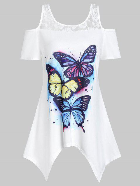 Handkerchief Cold Shoulder Butterfly Print T-shirt - WHITE 2XL