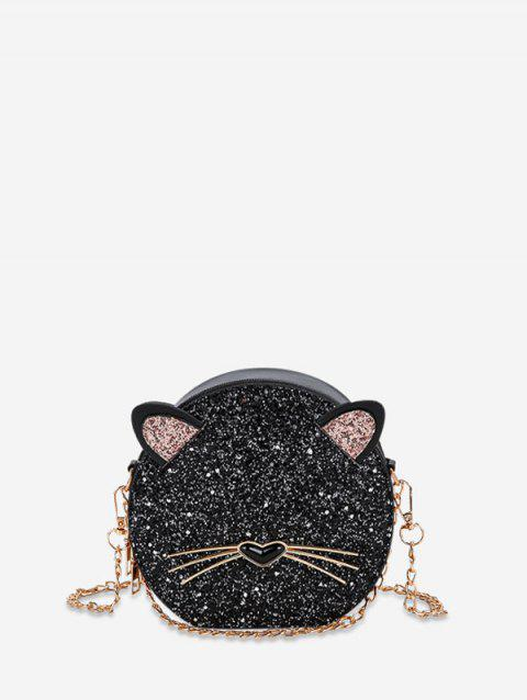Glitter Animal Design Round Crossbody Bag - BLACK