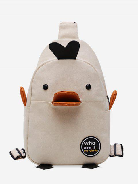 3D Duck Print Canvas Backpack - WHITE