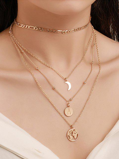 Round Retro Letter Map Multilayered Chain Necklace - GOLD