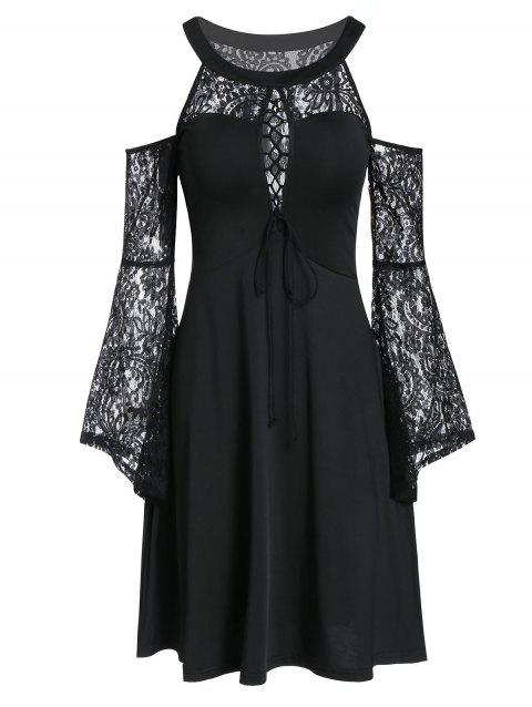 Cold Shoulder Lace Insert Flare Sleeve Dress - BLACK M