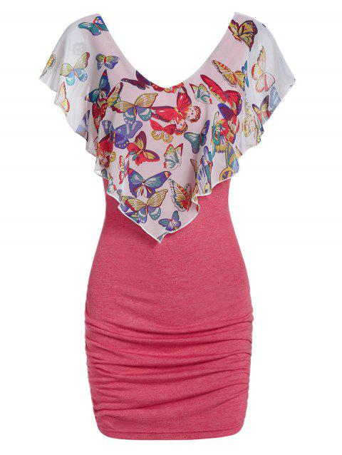 Butterfly Ruffle Ruched Bodycon Dress - LIGHT CORAL 2XL
