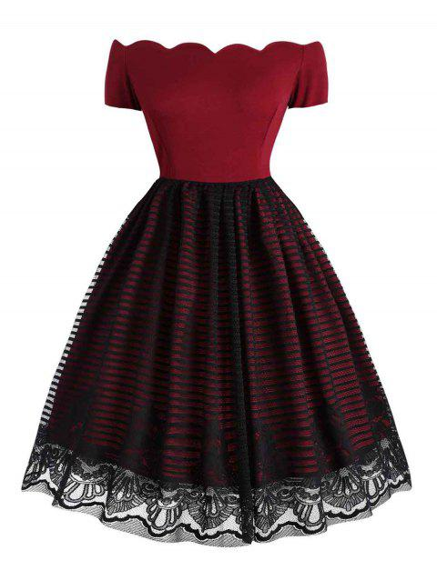 Scalloped Lace Overlay Plus Size Off The Shoulder Dress - RED WINE 4X