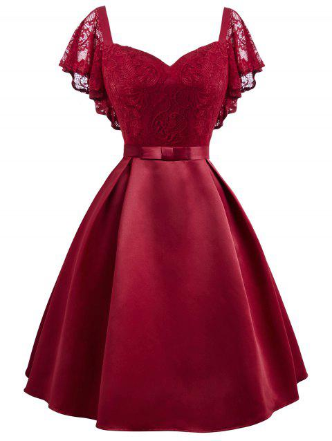 Lace Overlay Sweetheart Neck Plus Size Semi Formal Dress - RED 4X
