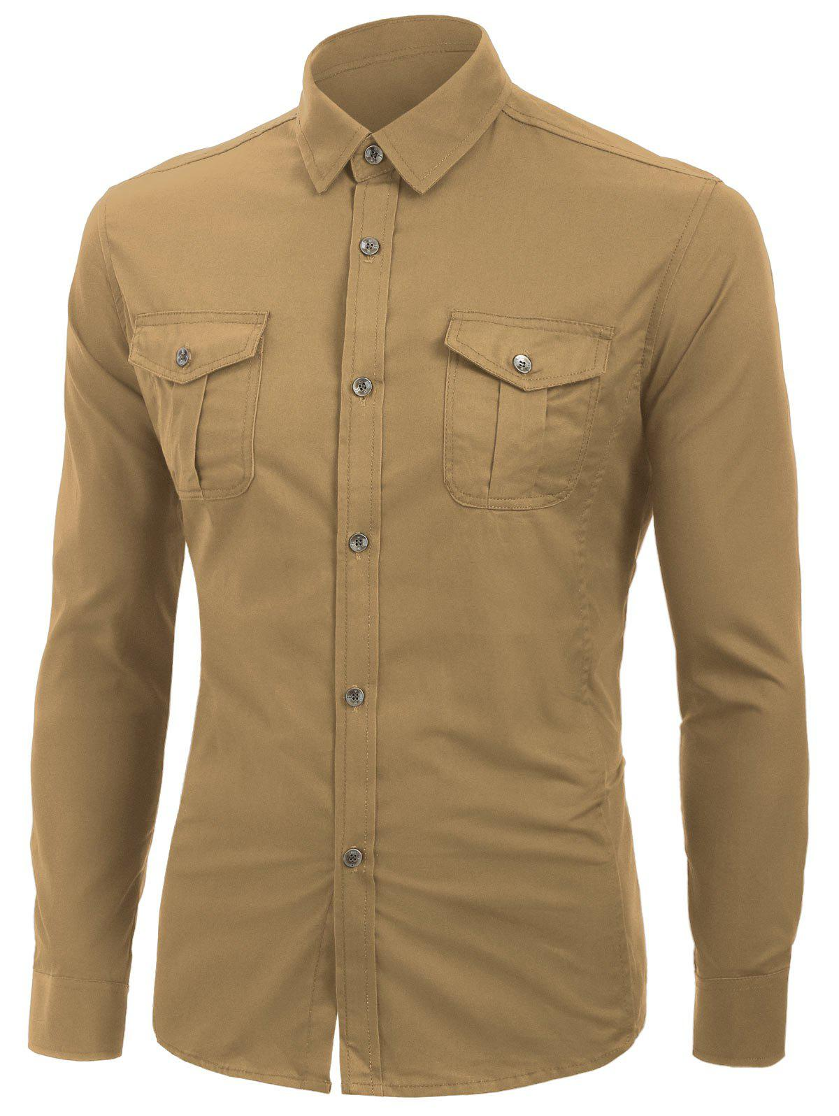 Solid Color Long Sleeves Cargo Shirt - LIGHT KHAKI XL