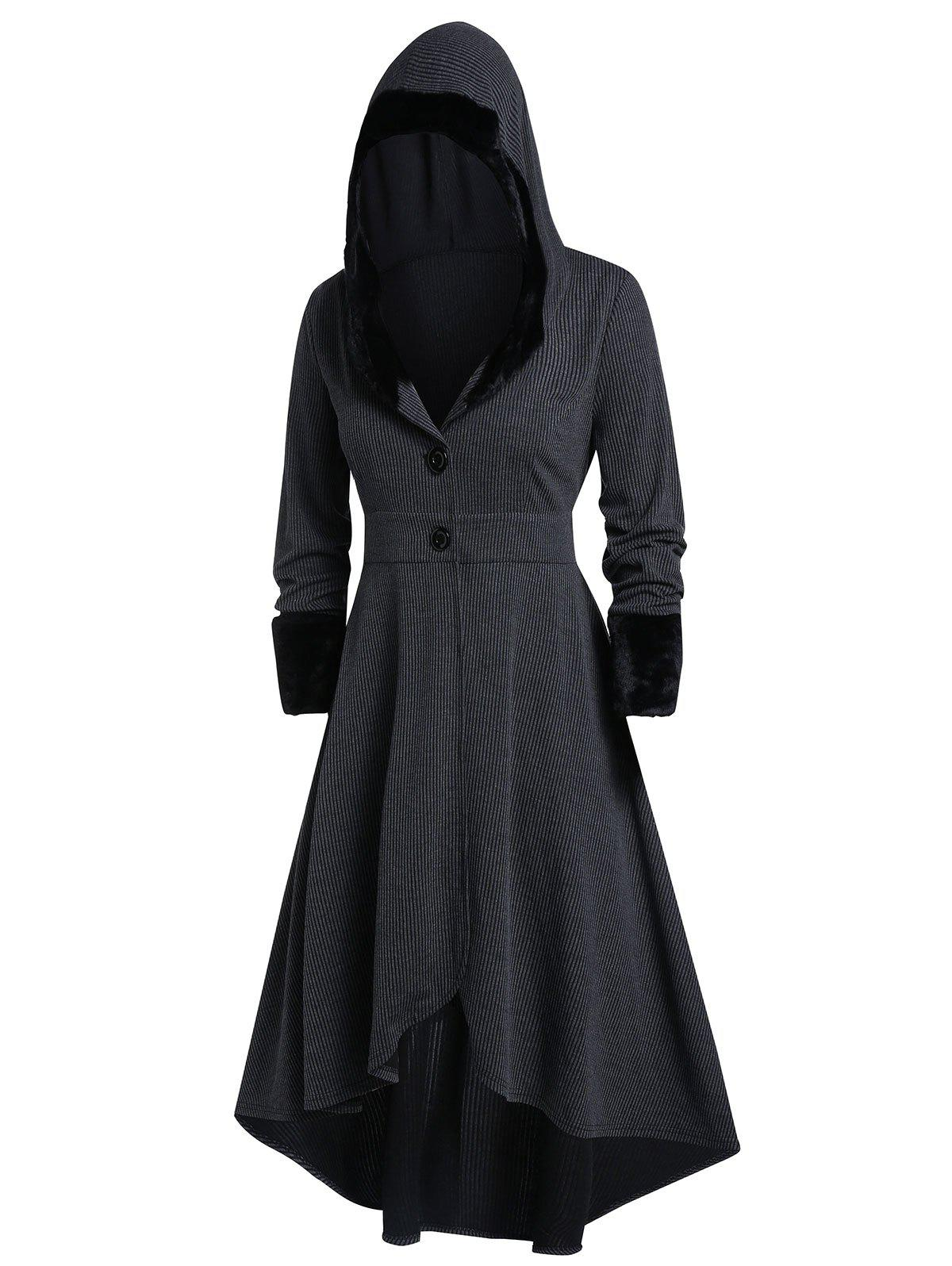 Plus Size Hooded Gothic Long Coat - BLACK 2X