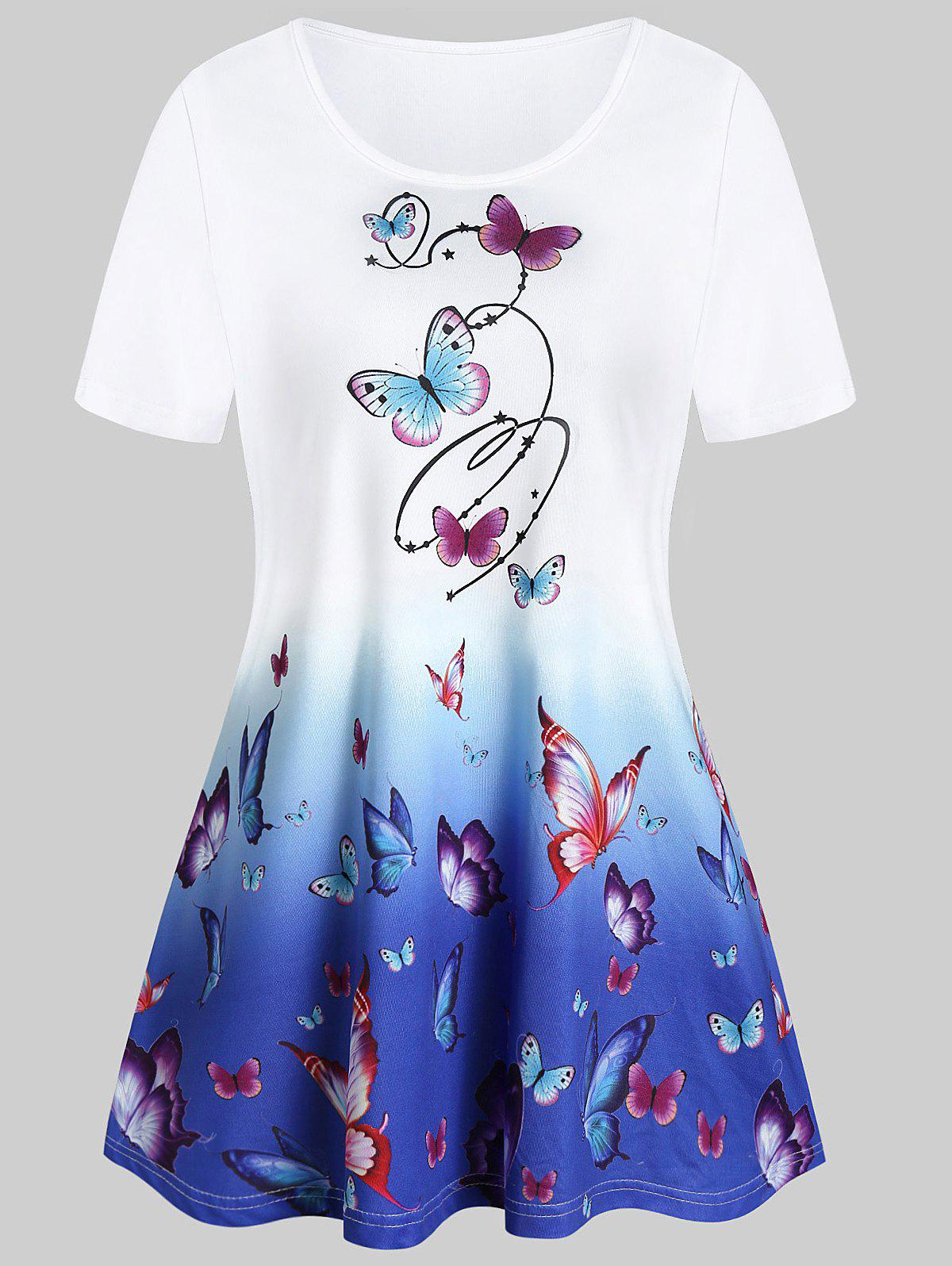 Butterfly Print Round Collar Tunic T Shirt - multicolor A M