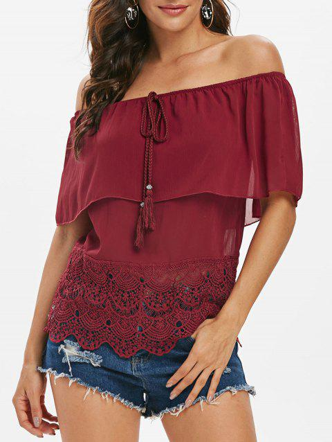 Off Shoulder Chiffon Guipure Lace Panel Blouse - RED WINE M
