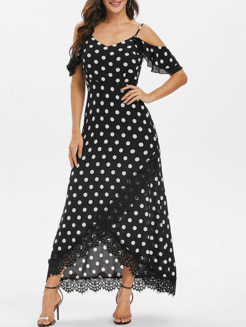 Polka Dot Lace Insert Cold Shoulder Dress - BLACK 3XL