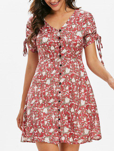 Tiny Floral Button Through Cinched Dress - LIGHT CORAL XL