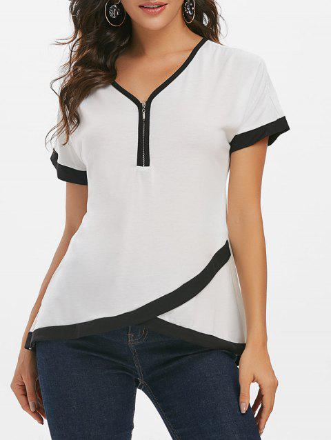 Zipper Front Contrast Binding Tulip Hem T-shirt - WHITE 3XL