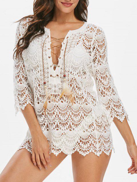 Scalloped Lace Up Feather Embellished Cover Up - WHITE ONE SIZE