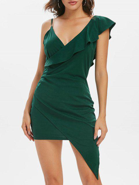 Ruffle Ruched Asymmetrical Dress - MEDIUM FOREST GREEN XL