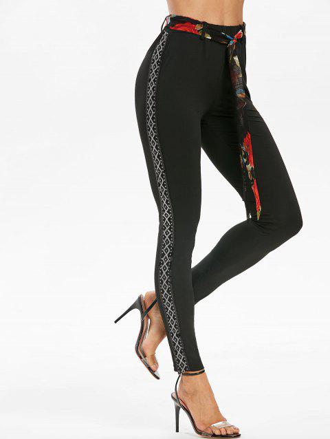 Geometric Sequined Side Insert Belted High Waist Leggings - BLACK L