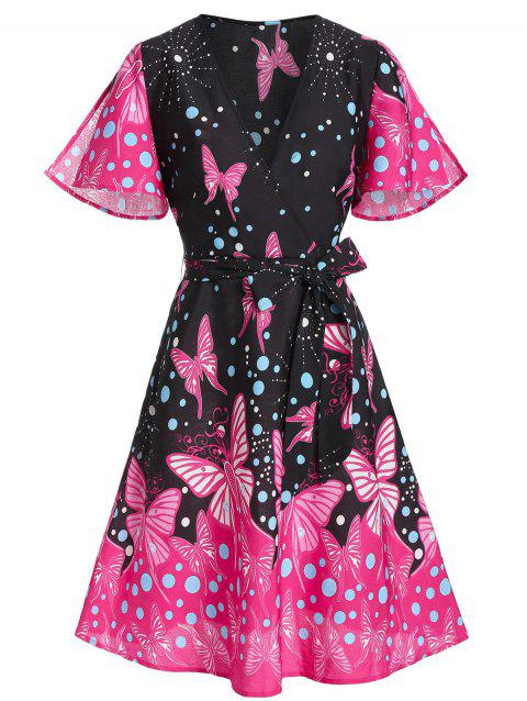 Butterfly Print Plunging Neck Surplice Dress - multicolor A 2XL