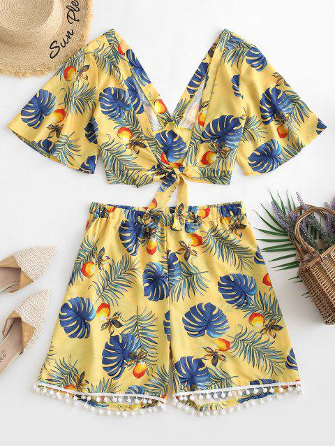 Plus Size Tropical Print Knotted Two Piece Outfits - GOLDENROD 3X