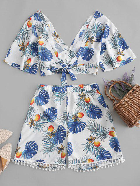 Plus Size Front Tie Top and Palm Print Shorts Co Ord Set - WHITE 2X