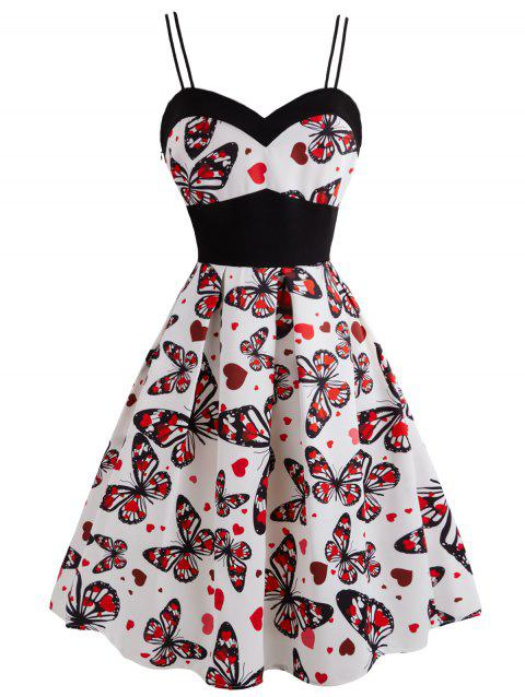 Plus Size Butterfly Heart Print Pin Up Dress - RED 3X