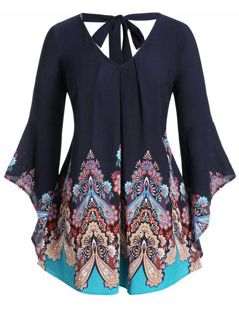 Plus Size Bell Sleeve Tribal Print Tied Cut Out Blouse - CADETBLUE 5X