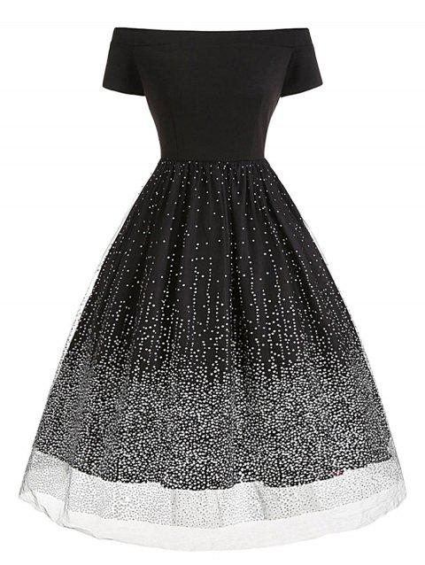 Off The Shoulder Layered Tulle Dot Plus Size Dress - BLACK 3X