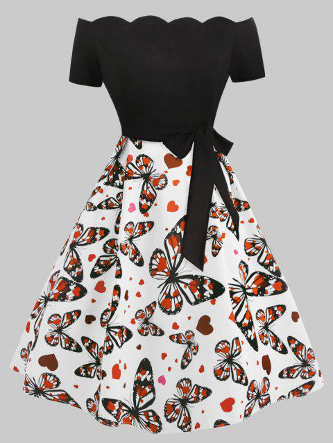 Butterfly Heart Print Scalloped Plus Size Dress - BLACK 3X