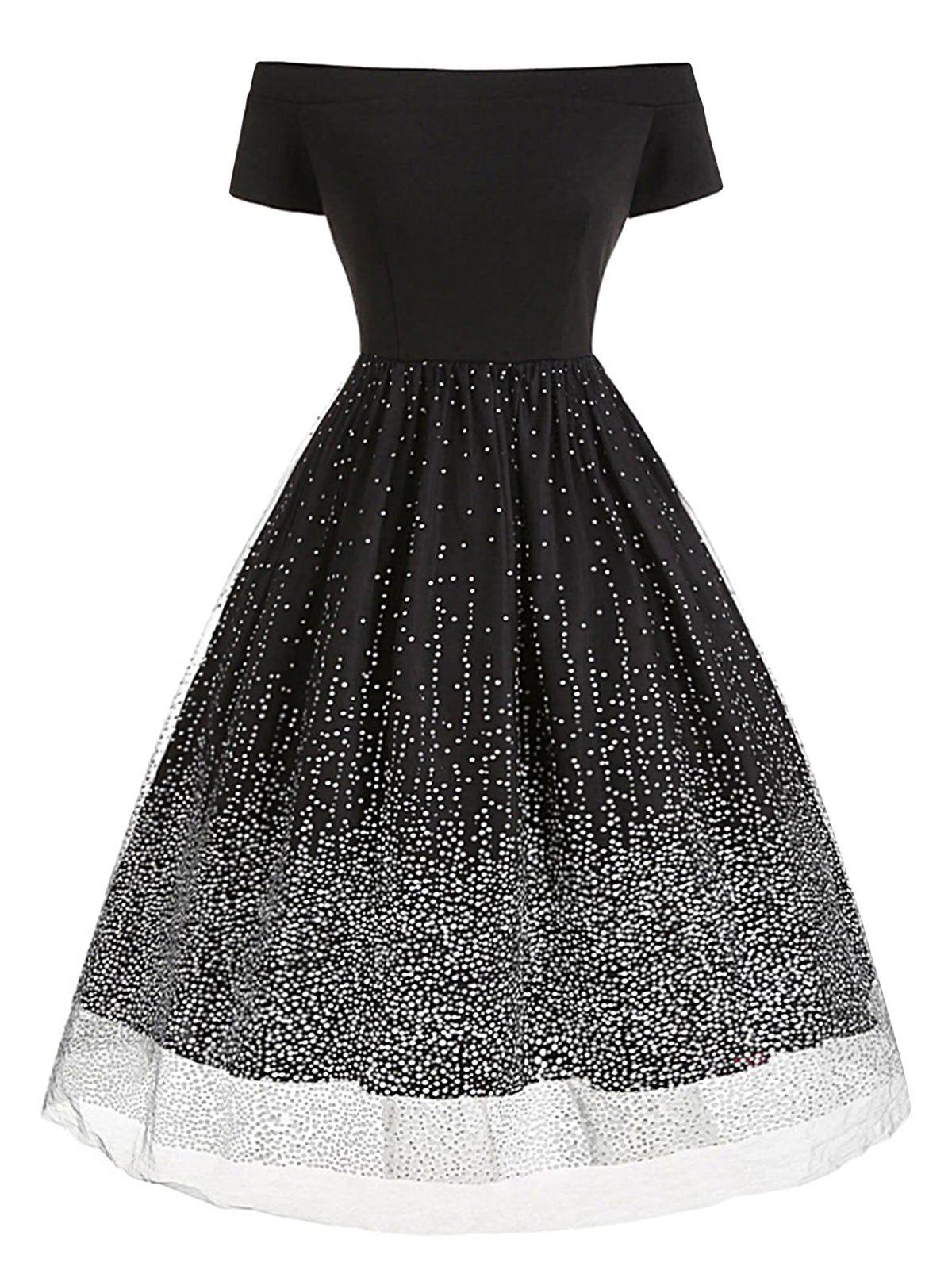 Off The Shoulder Layered Tulle Dot Plus Size Dress - BLACK 4X
