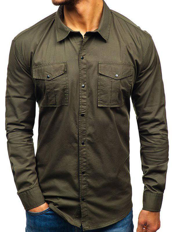 Solid Color Button Up Casual Cargo Shirt - ARMY GREEN S