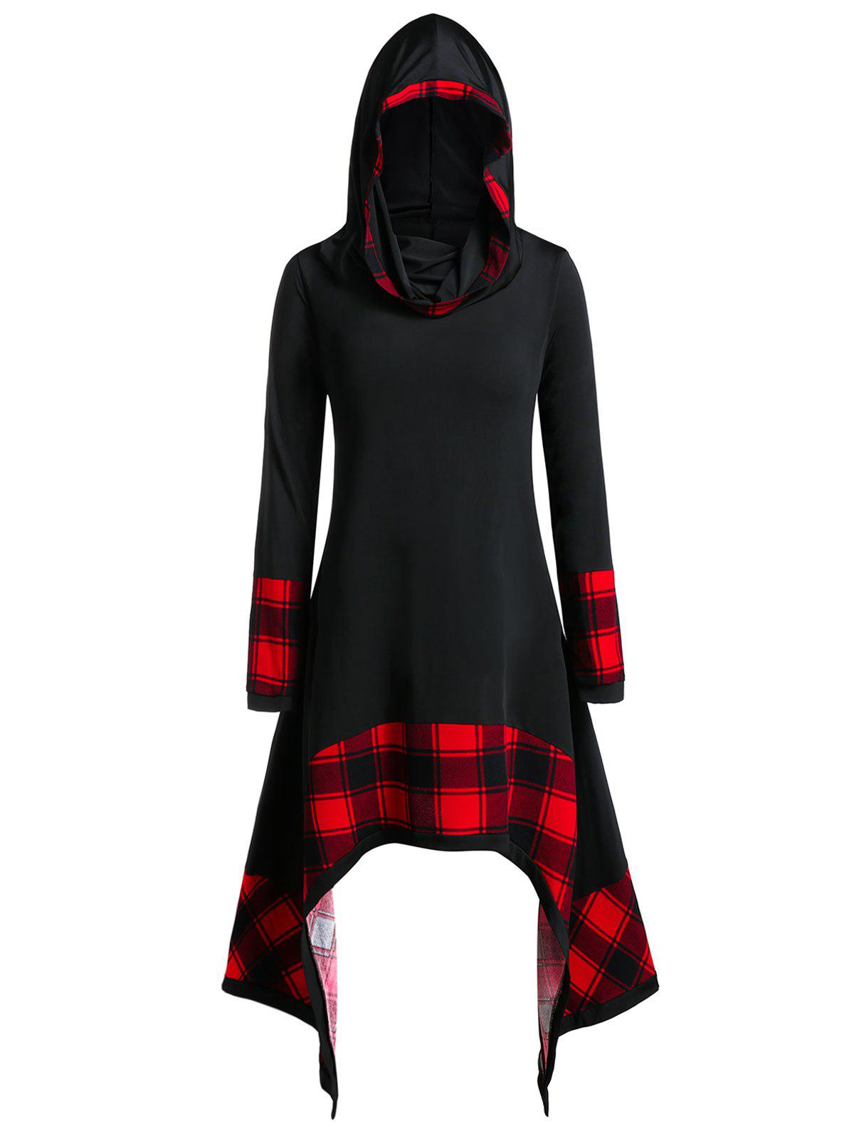 Plus Size Hooded Plaid Panel Asymmetric T Shirt