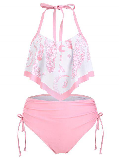 Feather Print Flounce Overlay Cinched Halter Tankini Swimsuit - LIGHT PINK 3XL