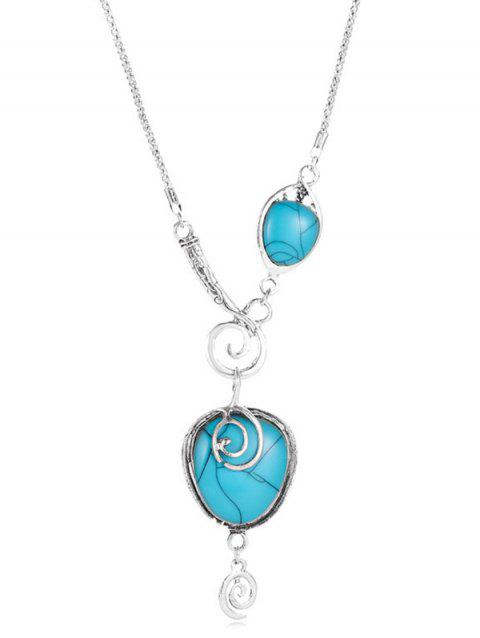 Artificial Turquoise Heart Shapes Pendant Necklace - SILVER
