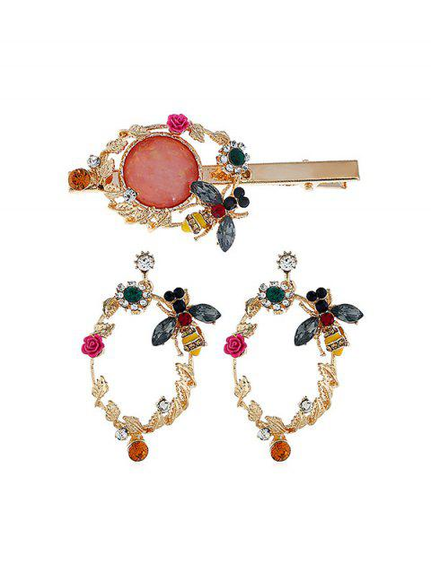 Artificial Crystal Flower Bee Design Earrings and Hair Clip - multicolor