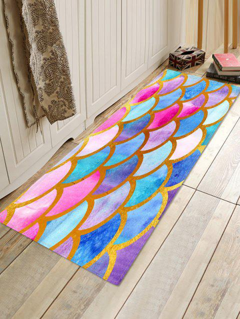 Fish Scale Colorful Printed Floor Rug - multicolor A W24 X L31.5 INCH