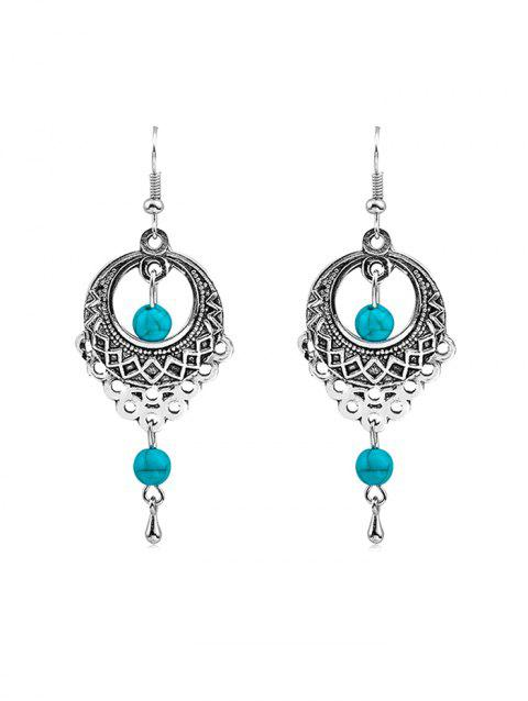 Vintage Artificial Turquoise Drop Earrings - SILVER
